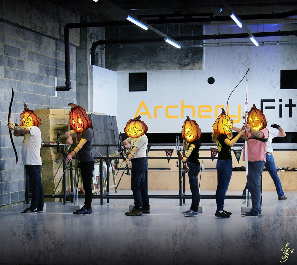 Pumpkin heads doing archery :)